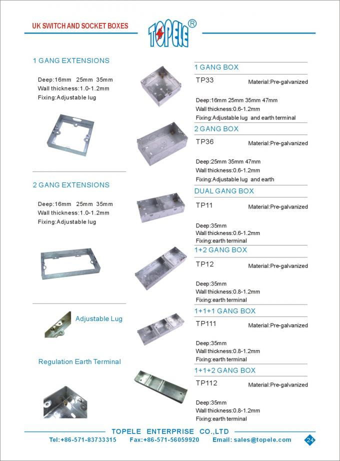 2 Inch x4 Inch / US Standard Pre-Galvanized Steel Switch Device Rectangular Conduit Boxes / Electrical Conduit  Boxes